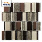 Bonne qualité brillant bande de sable de la forme de mosaïque de verre de couleur marron