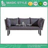 Insieme d'angolo di vimini del sofà del giardino con il sofà di alluminio stabilito del rattan del tavolino da salotto del sofà del patio 3-Seat dell'ammortizzatore del sofà esterno di vimini del rattan con il cuscino