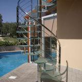 Acero inoxidable Baluster espiral de vidrio Escalera con pasamanos de PVC Design