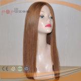 Cheveux blonds PU frontière européenne Haut de la soie perruque (PPG-L-0424)