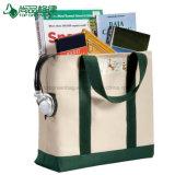Grandes dois sacos de Tote em branco orgânicos populares por atacado da lona do compartimento