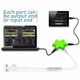 Auricular de alta calidad divisor de Audio Puerto Hub de 6 vías de varios colores Adaptador 3,5 mm