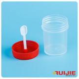 Contenitore di plastica a gettare delle feci con la vite