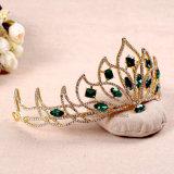 Coroas de ouro barroco Vermelho Verde Wedding Tiara Suite Cabelos Liga de Acessórios para a cabeça das mulheres Pricess Headpiece Crown