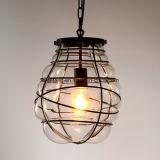 Innenhängende Glaslampe mit schwarzem Rahmen