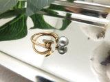 Ring van de Parel van de Fabriek van de Juwelen van de manier de In het groot Bijkomende Grijze in ImitatieGoud