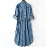 La correa llena simple y cómoda de Order~ japonés de algodón curvó los pantalones vaqueros de la alineada de las enaguas de Ladys