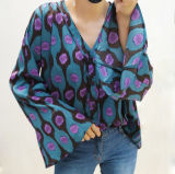 Женщин мода V-кольца Женская футболка