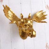 Decorazione artificiale di arte della parete del cranio dei cervi della nuova resina dell'oro