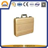 Mittlerer goldener AluminiumAttaché-Kasten mit Taschen (HL-5205)