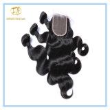 Peruanisches Karosserien-Wellen-Jungfrau-Haar-natürliche Farbe mit vollem Häutchen Wfpbw-001