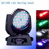 Der Fabrik-108X3w RGBW LED wäsche DJ-Beleuchtung bewegliche Hauptwäsche-helle des Stadiums-LED bewegliche Haupt