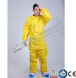 Nonwoven使い捨て可能で黄色いつなぎ服、PPのつなぎ服、安全はつなぎ服に適する