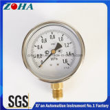 4 manomètre en laiton de connecteur de cas de l'antichoc solides solubles de pouce avec 1.6MPa l'exactitude 1.0%
