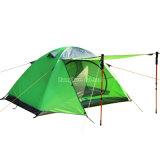 Tente en aluminium de Pôle de Double couche, tente campante verte imperméable à l'eau