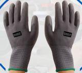 Серой перчатка работы PU покрынная ладонью