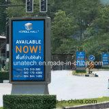 La publicité de l'affiche extérieure Alu de film de drapeau de câble de supermarchés. Cadre de contre-jour de Scroller DEL de bâti