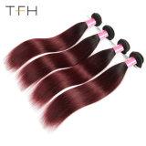 Virgem brasileira Huaman Cabelos Omber tecem 1b/99j Borgonha Reta Vermelha Remy Extensões de cabelo cabelos de dois tons (TFH18)