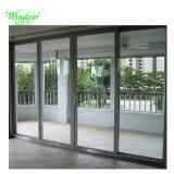Panel de cuatro ventanas de aluminio plegable de doble acristalamiento