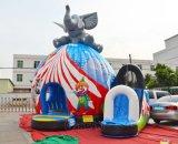 象のサーカスのスライドChb441が付いている膨脹可能な跳ね上がりの家