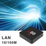 I88 Caixa de TV Android com Chip de rocha Rk Chips3229 2GB de RAM + diafragma de 16 GB ROM CAIXA DE TV inteligente com suporte WiFi, 4K, 1080p HD.