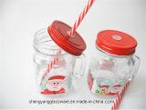 ハンドルのクリスマスのギフトのコップが付いている試供品のサンタクロースプリントガラスコップのガラスコップ