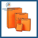 Cor de laranja com saco de presente de papel preto de borda (DM-GPBB-069)