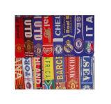 ジャカードフットボールのファンのニットのスカーフ(JRI052)、アクリルのスカーフ、アクリルの編まれたスカーフ