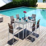 Bastidor de aluminio tejido impermeable eslinga juego de comedor Muebles de jardín