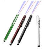 Hot Sale 4 en 1 stylo pointeur LASER métallique torche LED Stylus stylo à bille d'écran tactile 1 Logo couleur libre de l'impression