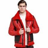 Cuoio maschio delle pecore dell'OEM Benuine che copre il cappotto caldo di inverno rosso