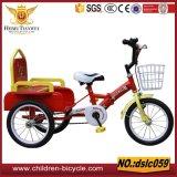 Venda de cesta de aço e borda colorida com triciclos de bebê de assento traseiro