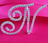 Rhinestone French Font Letter a to Z para Bridal Bouquet Wedding Bridal Bouquet Jewelry Pin