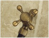 Grifo doble de la antigüedad del lavabo del servicio del latón superior de la palanca