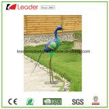 Figurine colorido do pavão do metal revestido decorativo do pó para a decoração do jardim