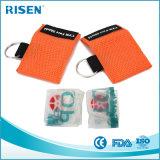 Máscara del CPR del entrenamiento de los primeros auxilios del AED de los kits de Keychain de la máscara del CPR del embalaje con varios compartimentos