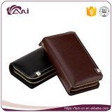 Франтовской бумажник кредитной карточки неподдельной кожи, бумажник людей с застежкой -молнией металла