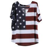 USA kennzeichnen gedrucktes übergrosses Blusen-Oberseite-T-Shirt
