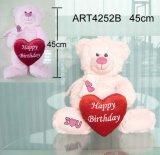 Oso rosado Llevar Valentín de corazón rojo del regalo