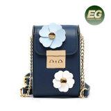 O malote pequeno da flor da caixa do telefone da flor do saco de Corssbody do couro 2017 genuíno ensaca sacos de ombro das mulheres com corrente Emg5027