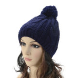 Шлем теплых Beanies зимы крышки POM шарика Mens женщин Unisex связанный POM толщиной (HW104)