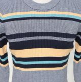 Colorful Striped Fashion Sweater de señora con la funda larga