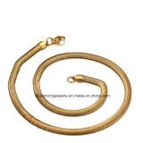 イエロー・ゴールドのステンレス鋼のめっきされた平らなヘビの鎖