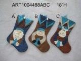 Santa, Snowman and Moose Christmas Stocking, 3 Asst