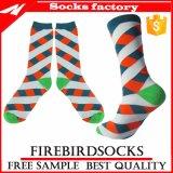 Bunter Großhandelsstreifen gekopierte Socken mit kundenspezifischen Kleid-Socken