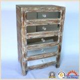 4つの引出しは純木フレーム木カラーのミラーの収納キャビネットをAntique