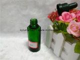 botella de petróleo esencial verde 30ml con el cuentagotas negro (EOB-9)