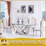 Mesa de jantar de aço inoxidável com conjunto de vidro Mesa de metal