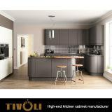 Vertical Grain gabinete de base de chapa natural con blanco alto brillo gabinetes de pared y encimera negro Tivo-0210h