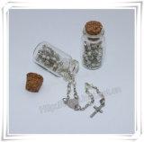 Bouteille de métal religieux, bouteille en verre rond, bouteille croisée, bouteille de rosaire (IO-p035)